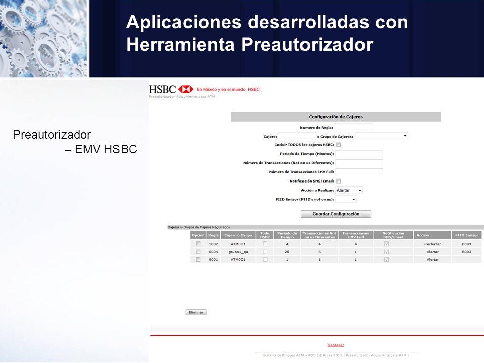Aplicaciones desarrolladas con Herramienta Preautorizador Preautorizador – EMV HSBC