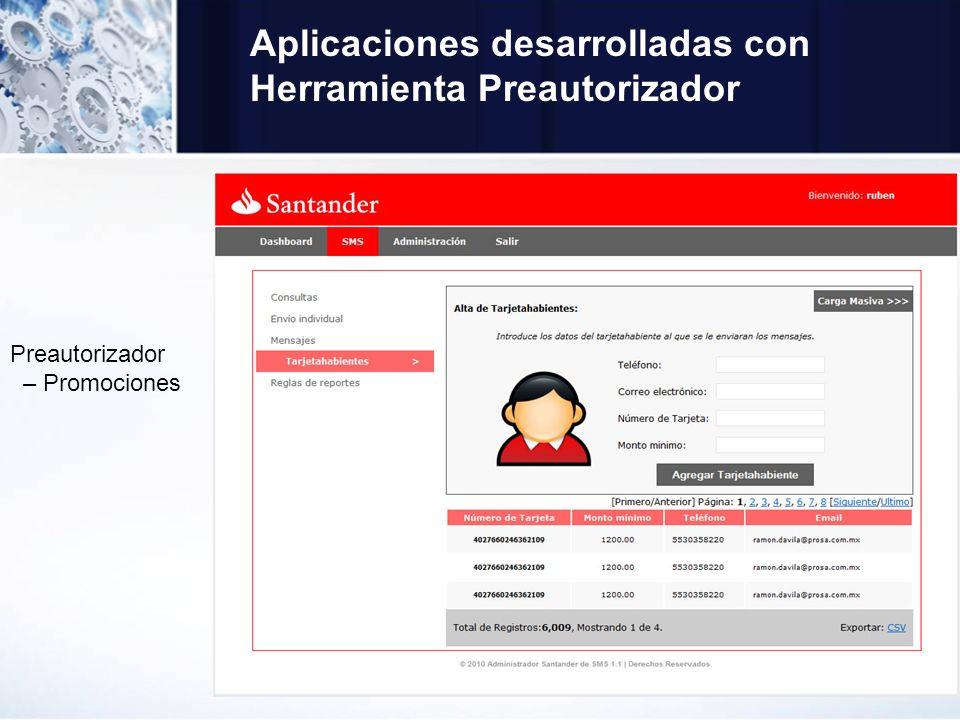 Aplicaciones desarrolladas con Herramienta Preautorizador Preautorizador – Promociones