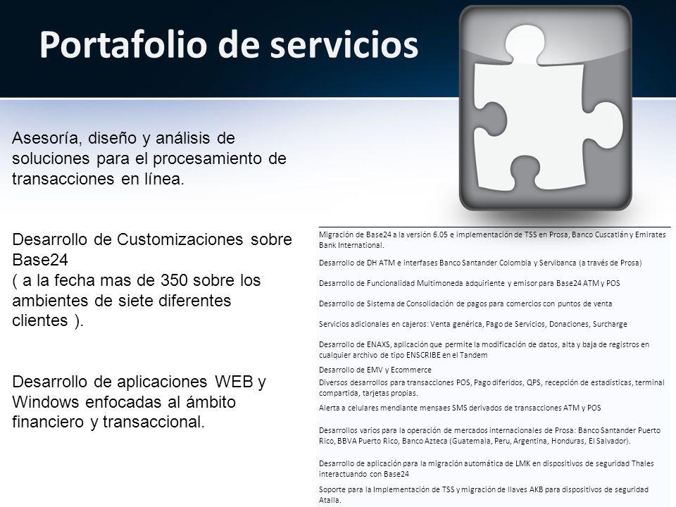 Portafolio de servicios Asesoría, diseño y análisis de soluciones para el procesamiento de transacciones en línea.