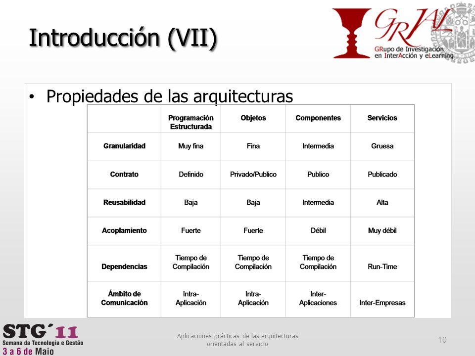 Introducción (VII) Propiedades de las arquitecturas 10 Aplicaciones prácticas de las arquitecturas orientadas al servicio