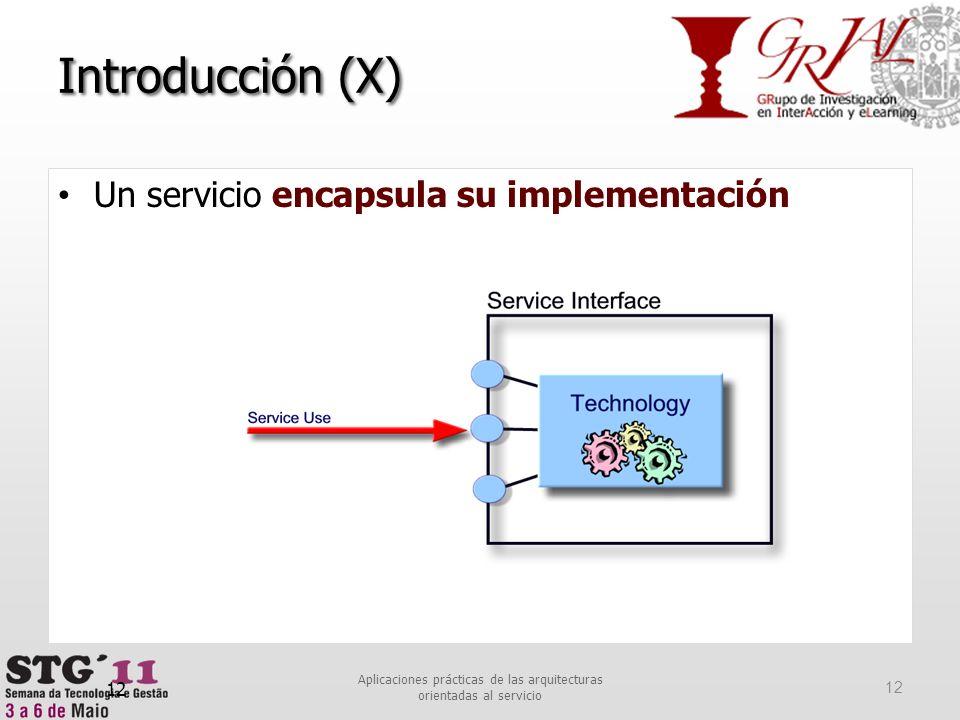12 Introducción (X) Un servicio encapsula su implementación 12 Aplicaciones prácticas de las arquitecturas orientadas al servicio