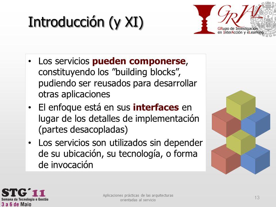 Introducción (y XI) Los servicios pueden componerse, constituyendo los building blocks, pudiendo ser reusados para desarrollar otras aplicaciones El e