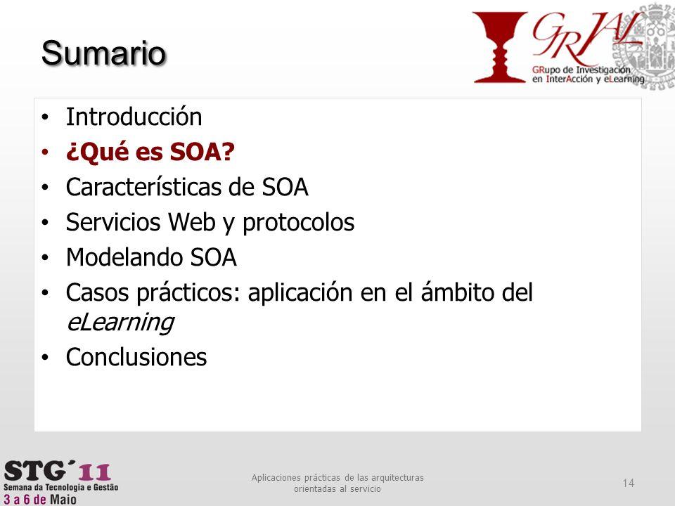 Sumario 14 Aplicaciones prácticas de las arquitecturas orientadas al servicio Introducción ¿Qué es SOA? Características de SOA Servicios Web y protoco