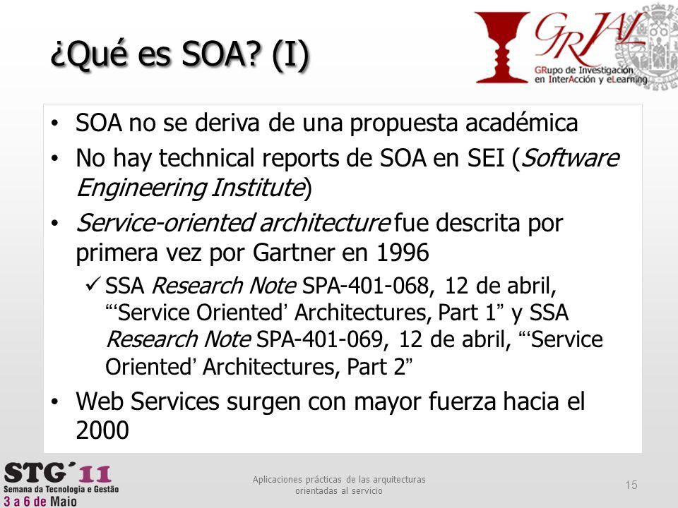 ¿Qué es SOA? (I) SOA no se deriva de una propuesta académica No hay technical reports de SOA en SEI (Software Engineering Institute) Service-oriented