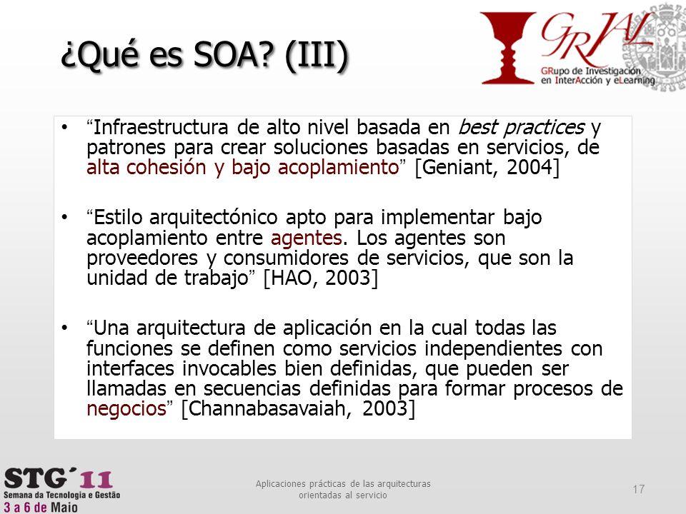 Infraestructura de alto nivel basada en best practices y patrones para crear soluciones basadas en servicios, de alta cohesión y bajo acoplamiento [Ge