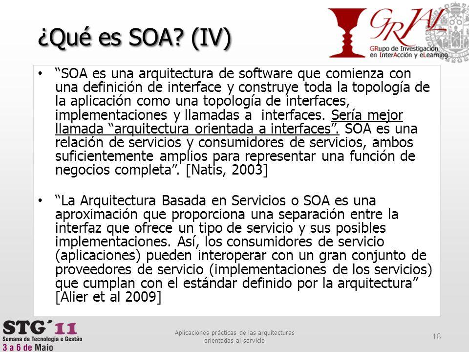 SOA es una arquitectura de software que comienza con una definición de interface y construye toda la topología de la aplicación como una topología de