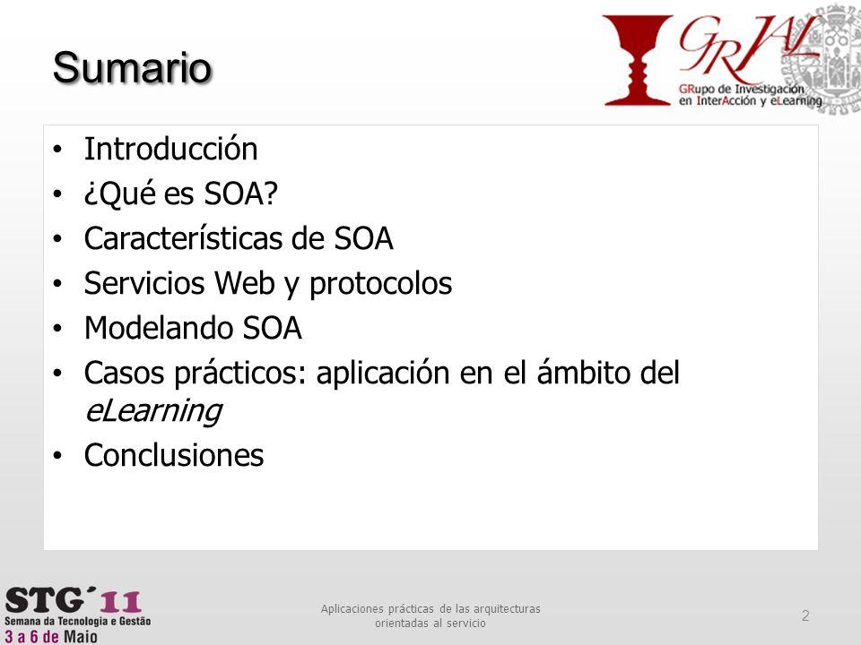 Sumario 2 Aplicaciones prácticas de las arquitecturas orientadas al servicio Introducción ¿Qué es SOA? Características de SOA Servicios Web y protocol
