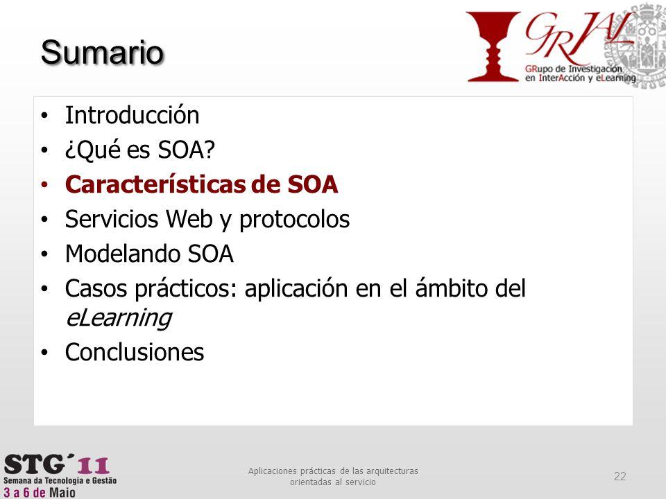 Sumario 22 Aplicaciones prácticas de las arquitecturas orientadas al servicio Introducción ¿Qué es SOA? Características de SOA Servicios Web y protoco