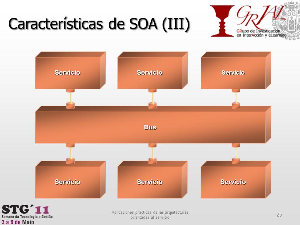 Aplicaciones prácticas de las arquitecturas orientadas al servicio 25 Características de SOA (III) ServicioServicioServicio ServicioServicioServicio B
