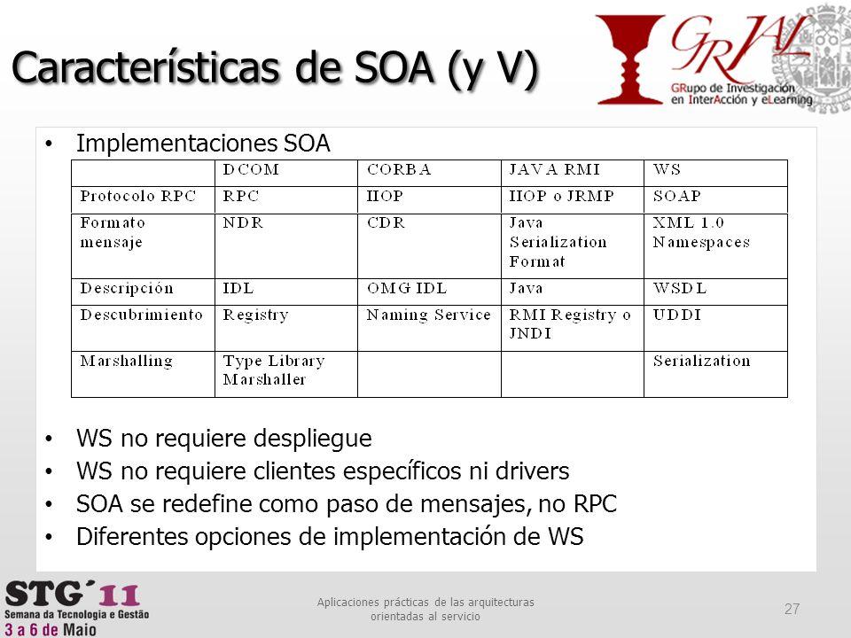 Implementaciones SOA WS no requiere despliegue WS no requiere clientes específicos ni drivers SOA se redefine como paso de mensajes, no RPC Diferentes
