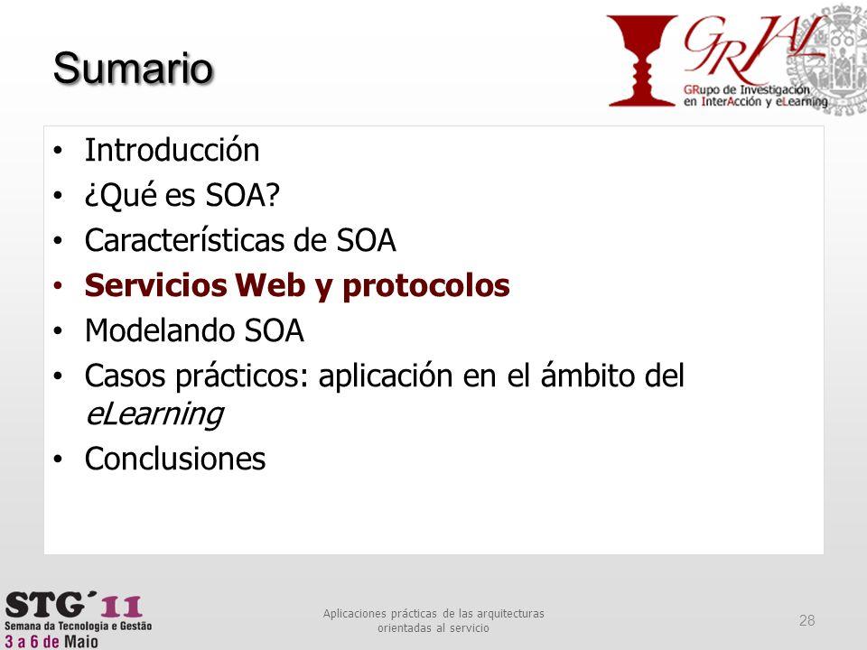 Sumario 28 Aplicaciones prácticas de las arquitecturas orientadas al servicio Introducción ¿Qué es SOA? Características de SOA Servicios Web y protoco