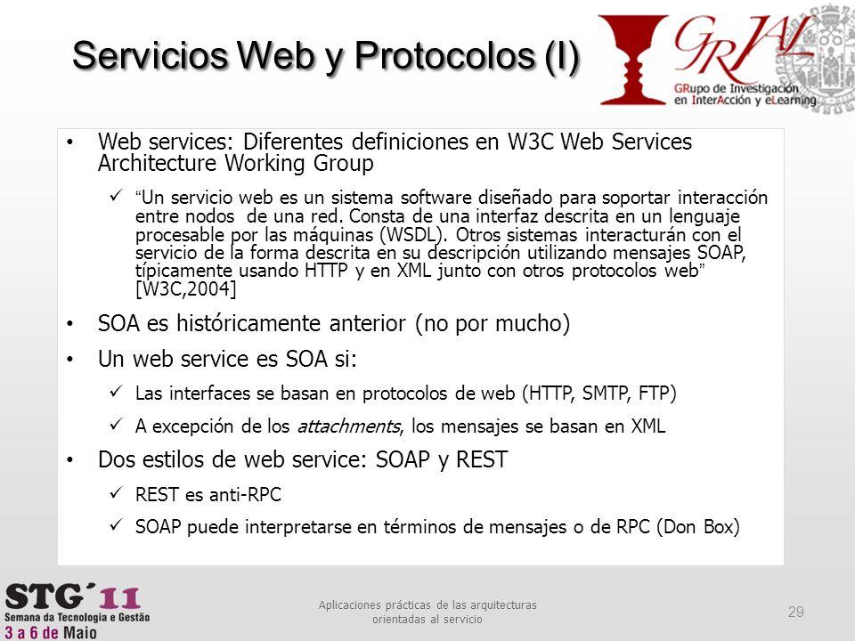 Web services: Diferentes definiciones en W3C Web Services Architecture Working Group Un servicio web es un sistema software diseñado para soportar int
