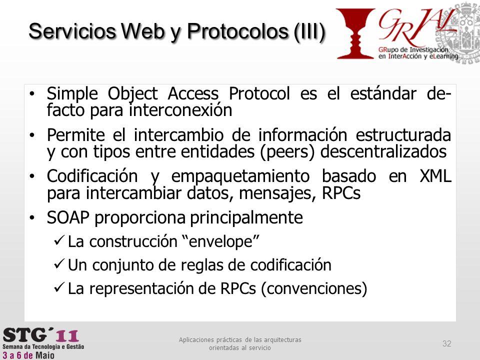 Simple Object Access Protocol es el estándar de- facto para interconexión Permite el intercambio de información estructurada y con tipos entre entidad