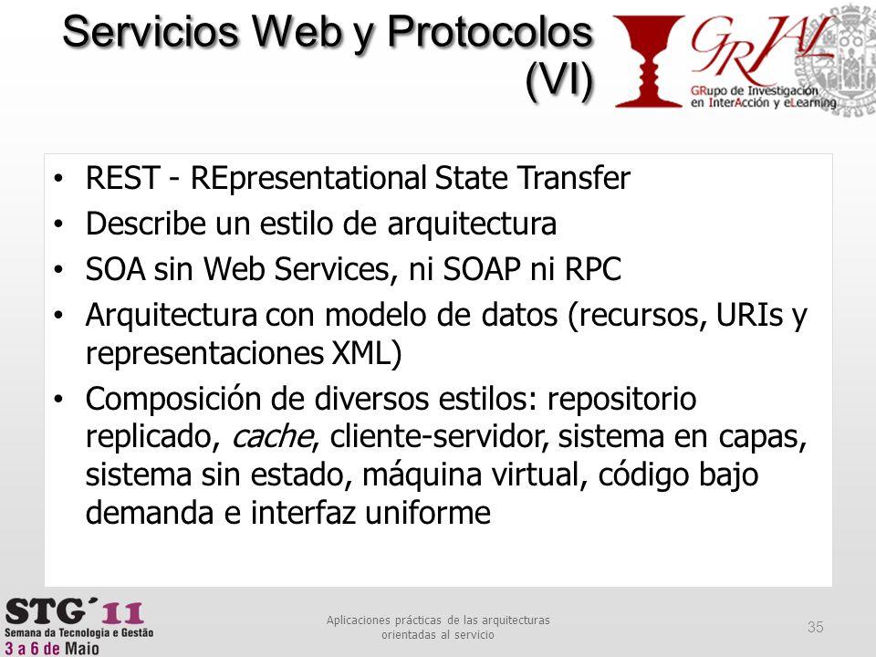 REST - REpresentational State Transfer Describe un estilo de arquitectura SOA sin Web Services, ni SOAP ni RPC Arquitectura con modelo de datos (recur