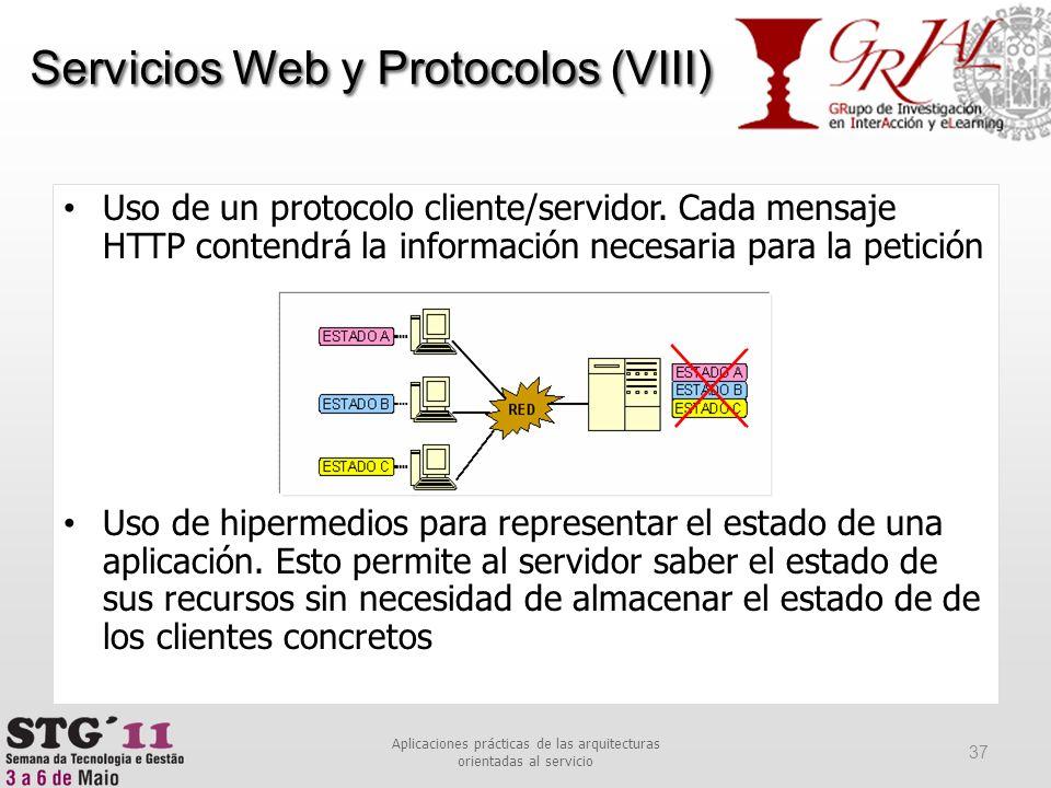 Uso de un protocolo cliente/servidor. Cada mensaje HTTP contendrá la información necesaria para la petición Uso de hipermedios para representar el est