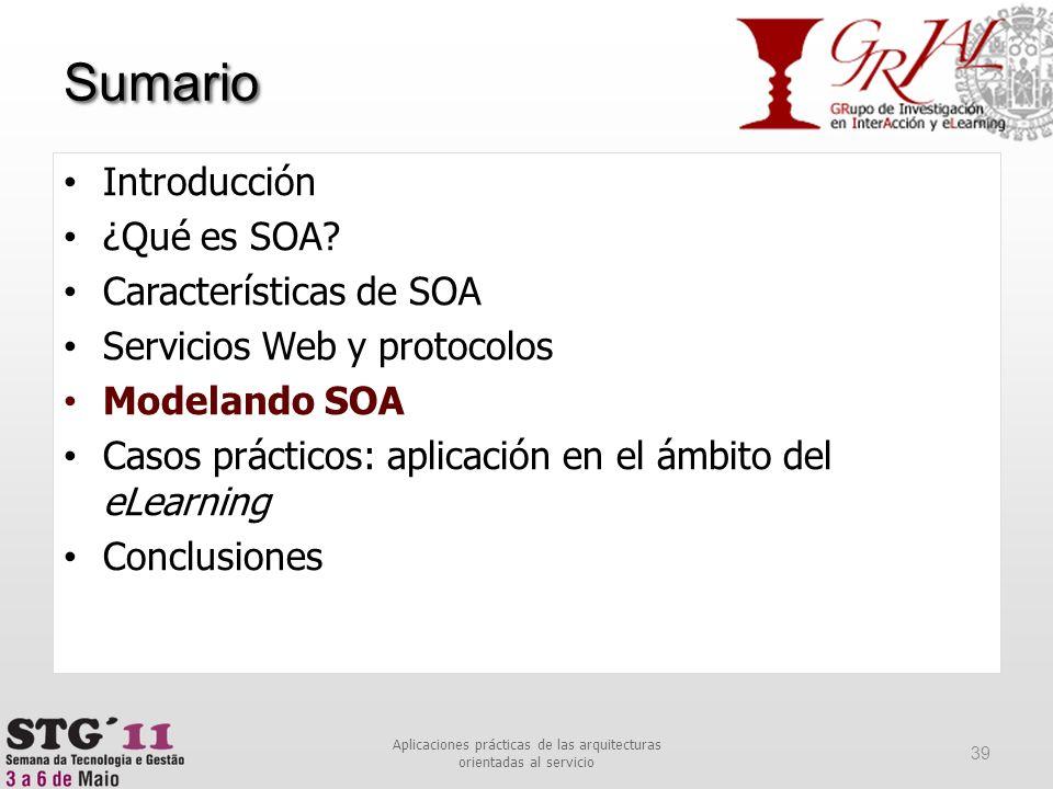 Sumario 39 Aplicaciones prácticas de las arquitecturas orientadas al servicio Introducción ¿Qué es SOA? Características de SOA Servicios Web y protoco