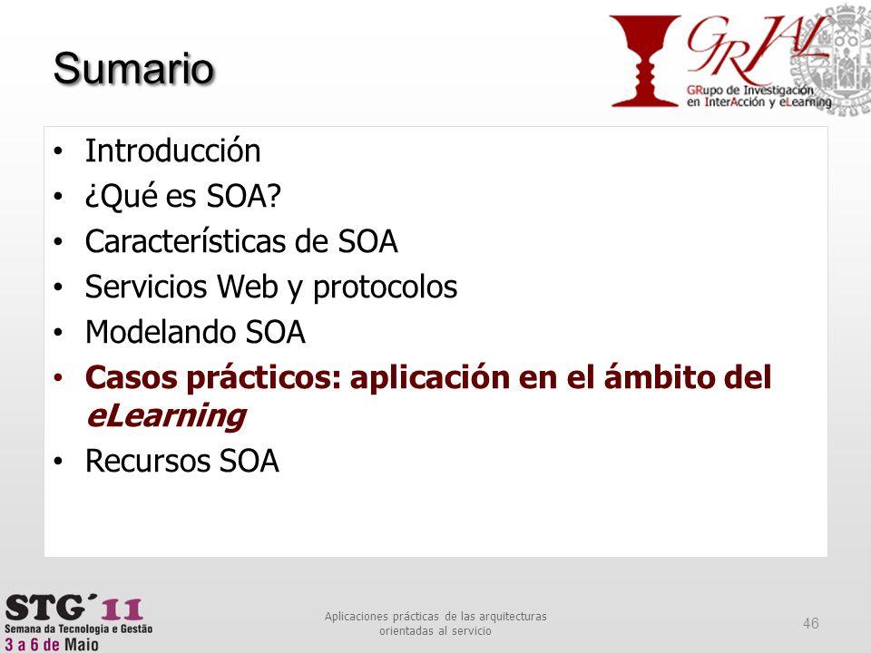 Sumario 46 Aplicaciones prácticas de las arquitecturas orientadas al servicio Introducción ¿Qué es SOA? Características de SOA Servicios Web y protoco