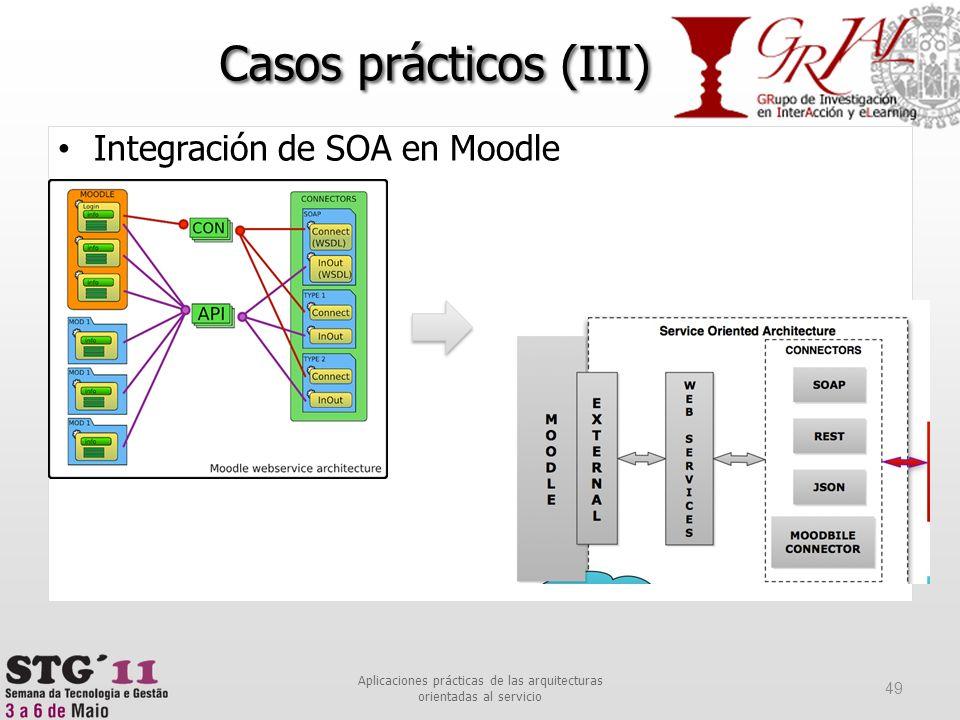 Integración de SOA en Moodle Casos prácticos (III) 49 Aplicaciones prácticas de las arquitecturas orientadas al servicio