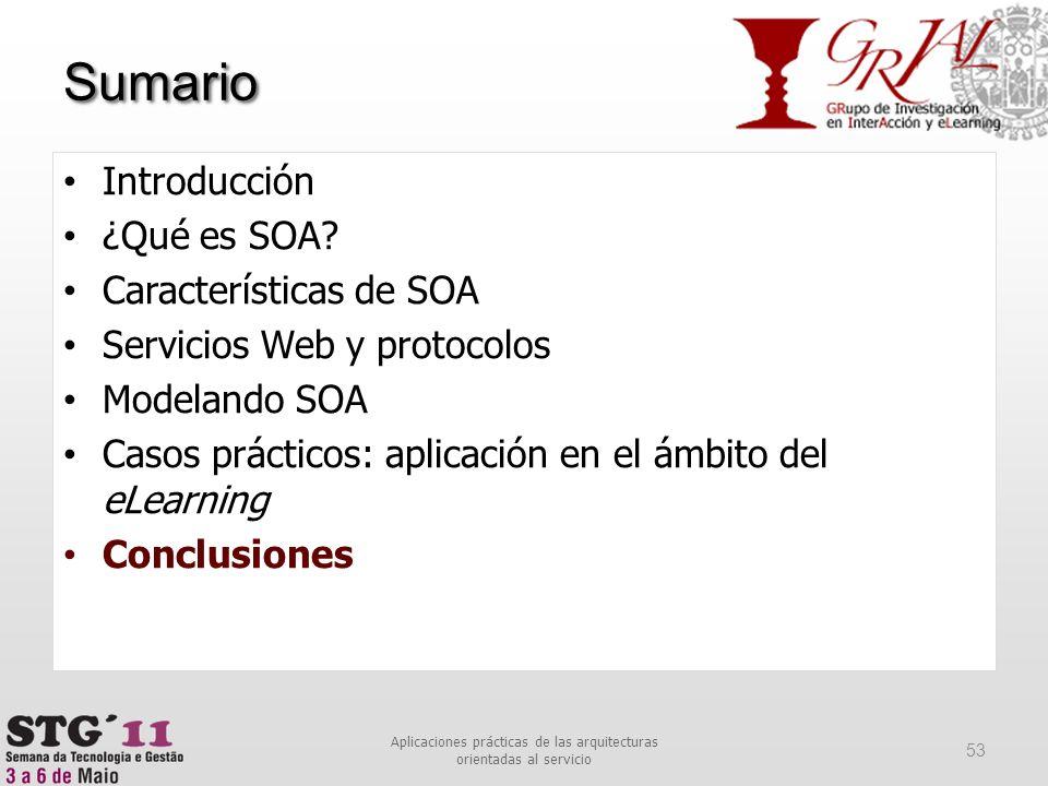 Sumario 53 Aplicaciones prácticas de las arquitecturas orientadas al servicio Introducción ¿Qué es SOA? Características de SOA Servicios Web y protoco
