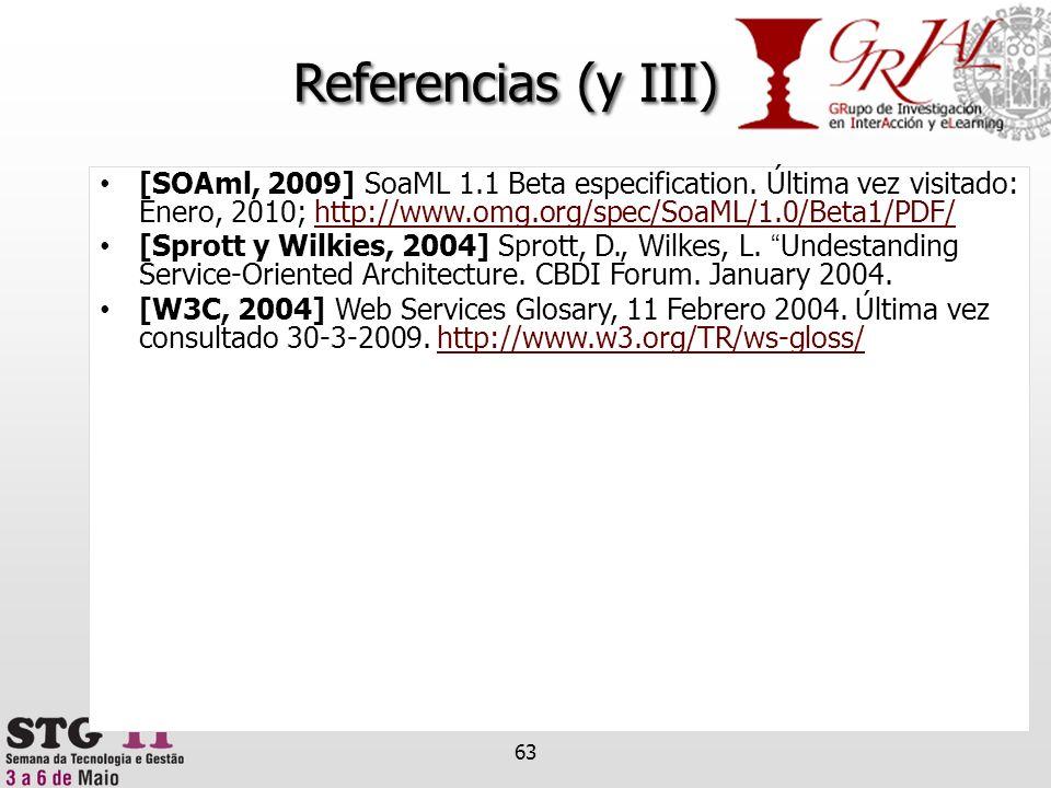 Referencias (y III) [SOAml, 2009] SoaML 1.1 Beta especification. Última vez visitado: Enero, 2010; http://www.omg.org/spec/SoaML/1.0/Beta1/PDF/http://