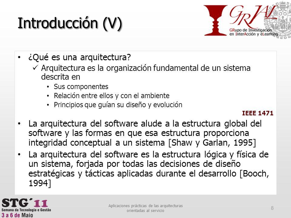 Introducción (V) ¿Qué es una arquitectura? Arquitectura es la organización fundamental de un sistema descrita en Sus componentes Relación entre ellos