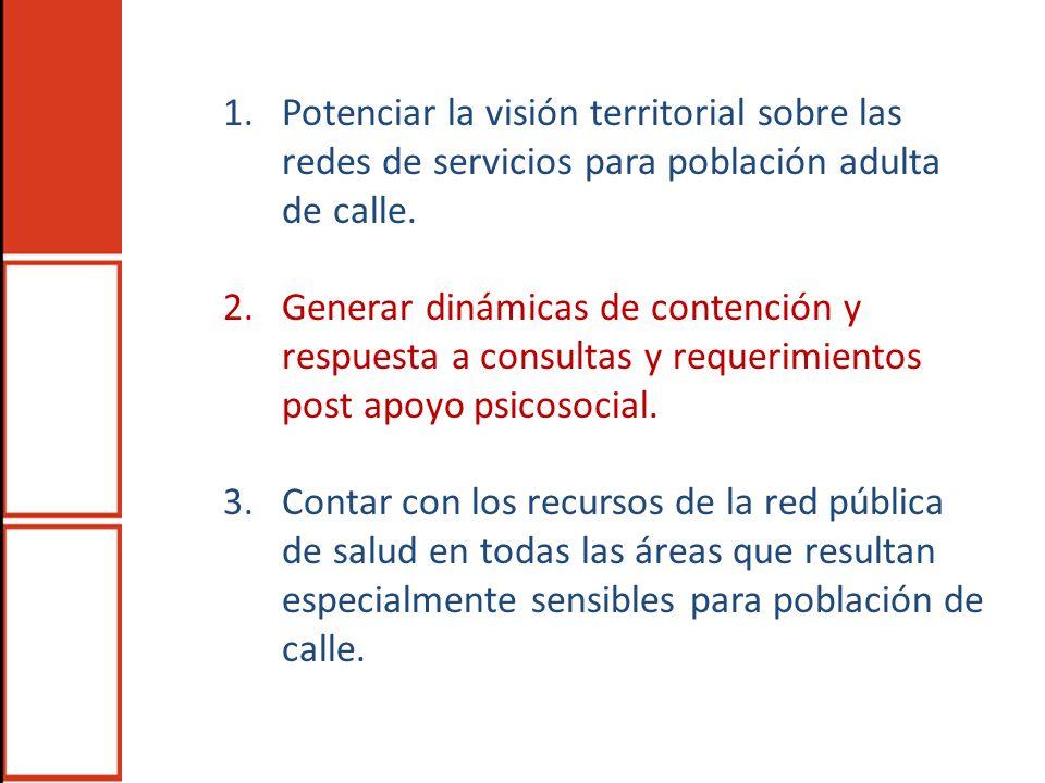1.Potenciar la visión territorial sobre las redes de servicios para población adulta de calle. 2.Generar dinámicas de contención y respuesta a consult