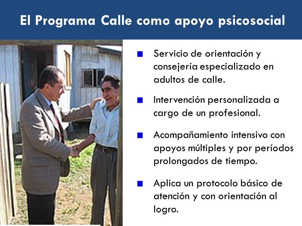 El Programa Calle como apoyo psicosocial Servicio de orientación y consejería especializado en adultos de calle. Intervención personalizada a cargo de