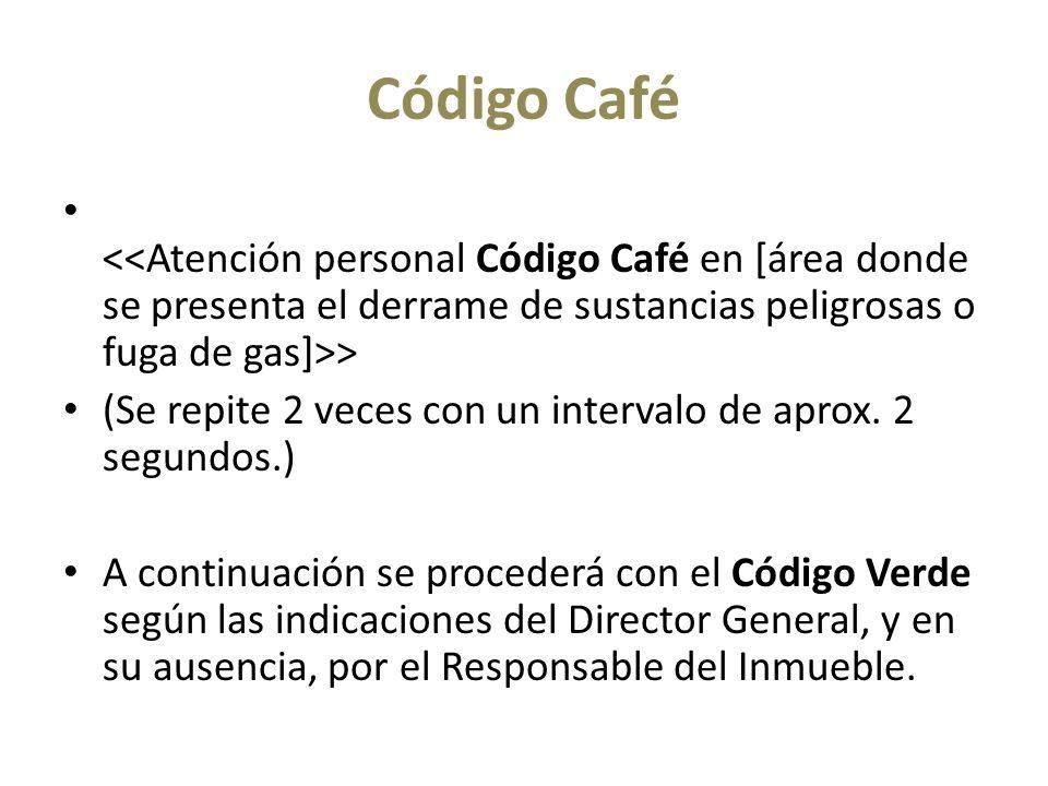 Código Café > (Se repite 2 veces con un intervalo de aprox. 2 segundos.) A continuación se procederá con el Código Verde según las indicaciones del Di