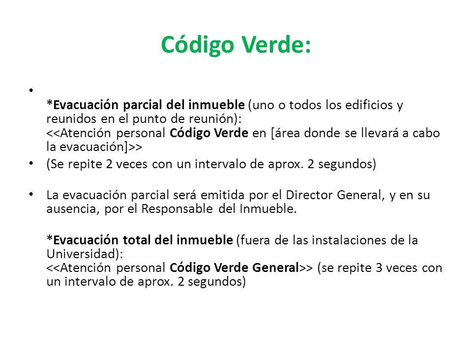 Código Verde: *Evacuación parcial del inmueble (uno o todos los edificios y reunidos en el punto de reunión): > (Se repite 2 veces con un intervalo de