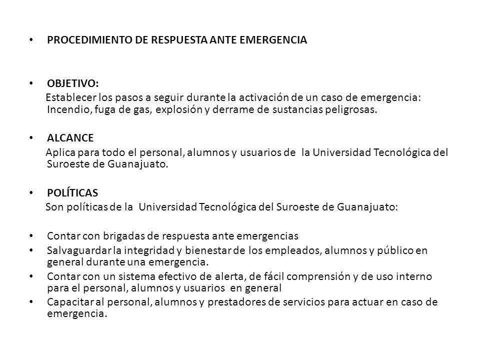 PROCEDIMIENTO DE RESPUESTA ANTE EMERGENCIA OBJETIVO: Establecer los pasos a seguir durante la activación de un caso de emergencia: Incendio, fuga de g