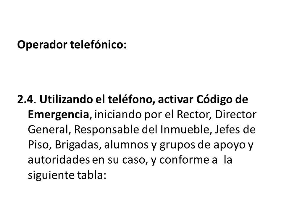 Operador telefónico: 2.4. Utilizando el teléfono, activar Código de Emergencia, iniciando por el Rector, Director General, Responsable del Inmueble, J