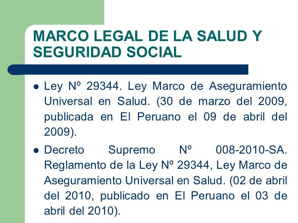 Ley Nº 29344.Ley Marco de Aseguramiento Universal en Salud.