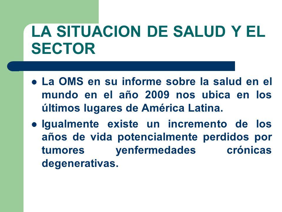 LA SITUACION DE SALUD Y EL SECTOR La OMS en su informe sobre la salud en el mundo en el año 2009 nos ubica en los últimos lugares de América Latina.