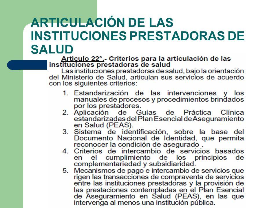 ARTICULACIÓN DE LAS INSTITUCIONES PRESTADORAS DE SALUD