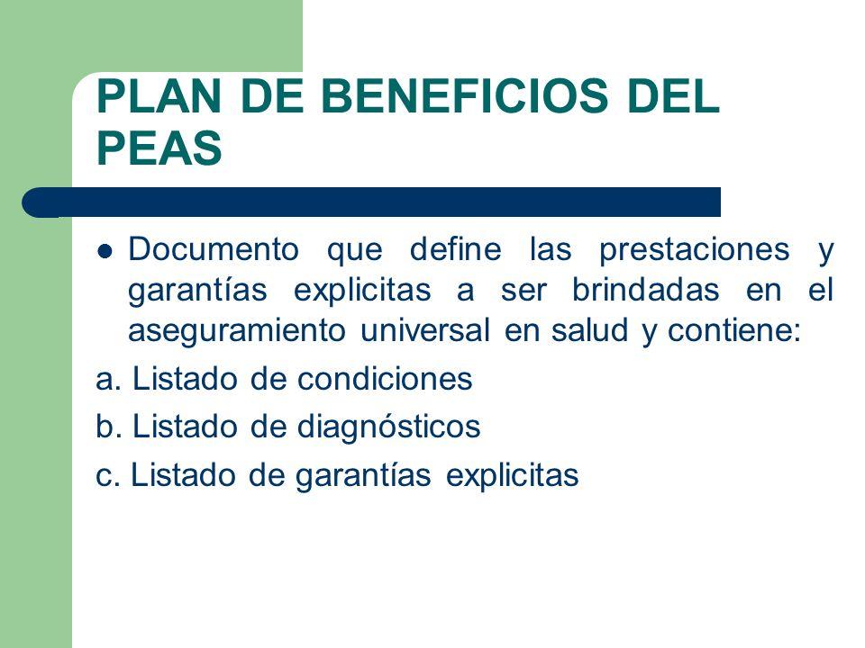 PLAN DE BENEFICIOS DEL PEAS Documento que define las prestaciones y garantías explicitas a ser brindadas en el aseguramiento universal en salud y contiene: a.