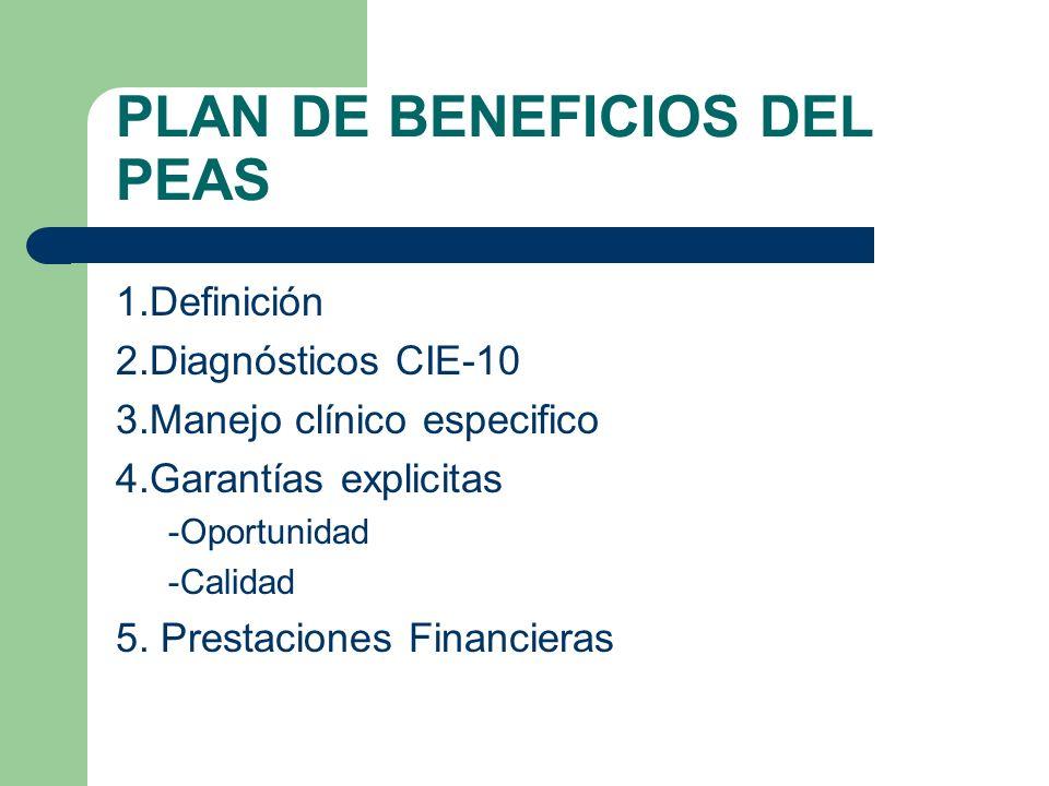 PLAN DE BENEFICIOS DEL PEAS 1.Definición 2.Diagnósticos CIE-10 3.Manejo clínico especifico 4.Garantías explicitas -Oportunidad -Calidad 5.