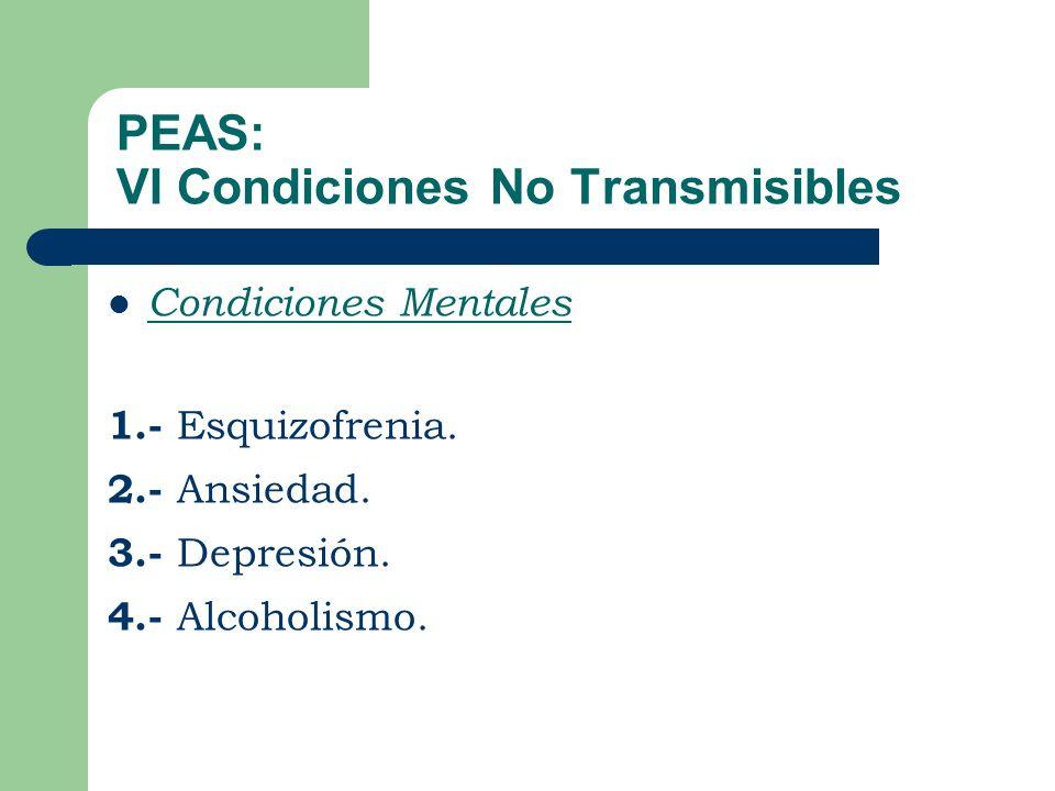 PEAS: VI Condiciones No Transmisibles Condiciones Mentales 1.- Esquizofrenia.
