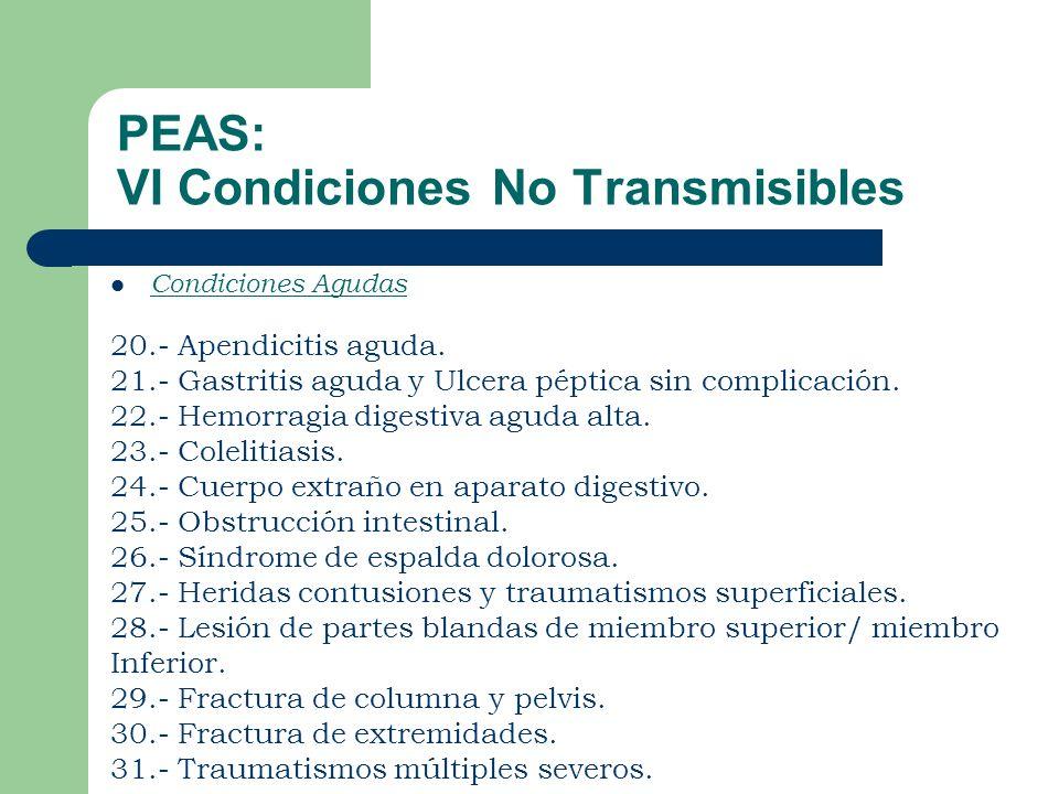 PEAS: VI Condiciones No Transmisibles Condiciones Agudas 20.- Apendicitis aguda.