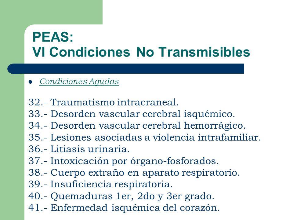 PEAS: VI Condiciones No Transmisibles Condiciones Agudas 32.- Traumatismo intracraneal.
