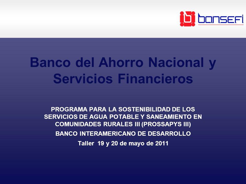 Banco del Ahorro Nacional y Servicios Financieros PROGRAMA PARA LA SOSTENIBILIDAD DE LOS SERVICIOS DE AGUA POTABLE Y SANEAMIENTO EN COMUNIDADES RURALES III (PROSSAPYS III) BANCO INTERAMERICANO DE DESARROLLO Taller 19 y 20 de mayo de 2011