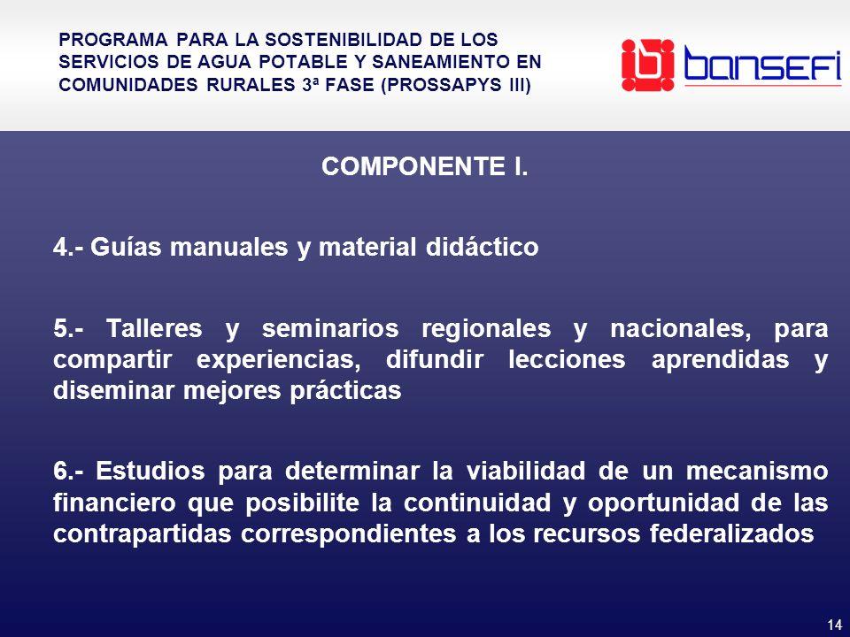 14 PROGRAMA PARA LA SOSTENIBILIDAD DE LOS SERVICIOS DE AGUA POTABLE Y SANEAMIENTO EN COMUNIDADES RURALES 3ª FASE (PROSSAPYS III) COMPONENTE I. 4.- Guí