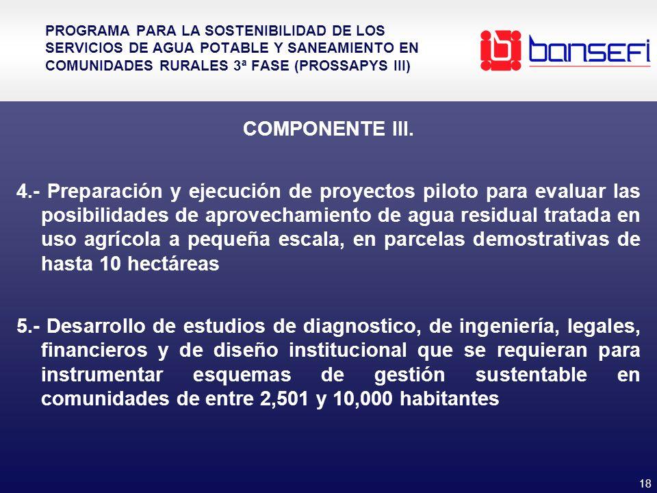 18 PROGRAMA PARA LA SOSTENIBILIDAD DE LOS SERVICIOS DE AGUA POTABLE Y SANEAMIENTO EN COMUNIDADES RURALES 3ª FASE (PROSSAPYS III) COMPONENTE III. 4.- P