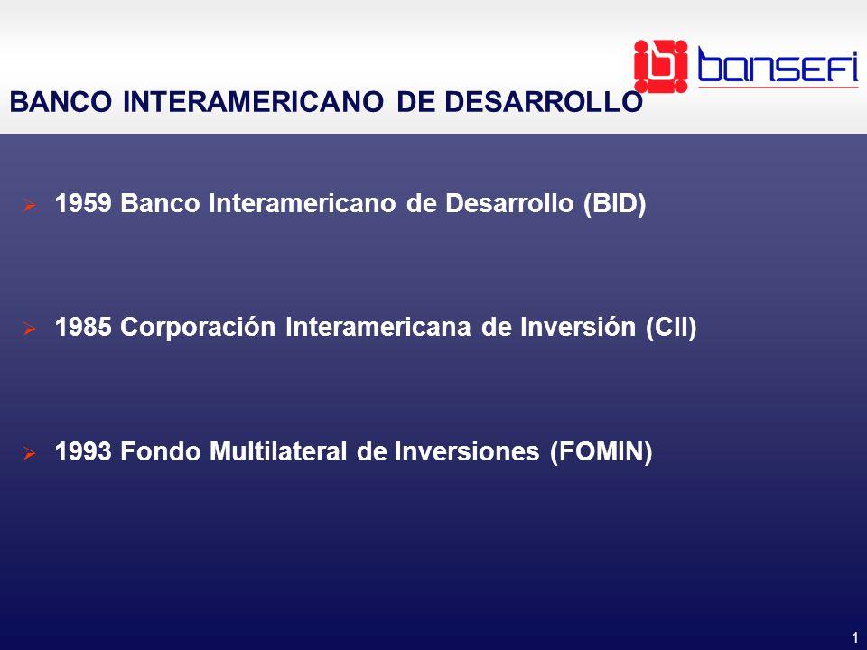 1 BANCO INTERAMERICANO DE DESARROLLO 1959 Banco Interamericano de Desarrollo (BID) 1985 Corporación Interamericana de Inversión (CII) 1993 Fondo Multi