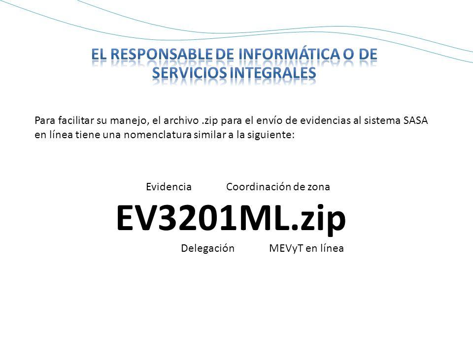 Para facilitar su manejo, el archivo.zip para el envío de evidencias al sistema SASA en línea tiene una nomenclatura similar a la siguiente: Evidencia Coordinación de zona EV3201ML.zip Delegación MEVyT en línea