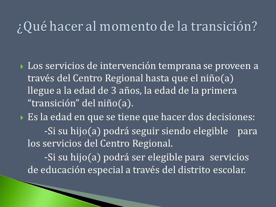 Los servicios de intervención temprana se proveen a través del Centro Regional hasta que el niño(a) llegue a la edad de 3 años, la edad de la primera