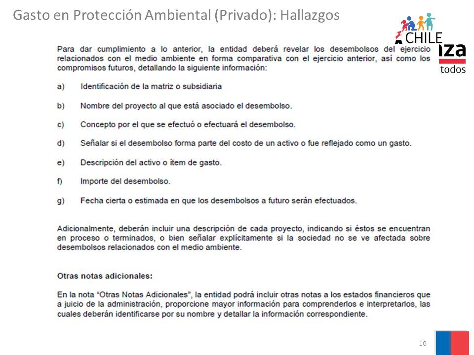 10 Gasto en Protección Ambiental (Privado): Hallazgos