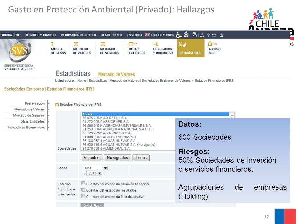 12 Datos: 600 Sociedades Riesgos: 50% Sociedades de inversión o servicios financieros. Agrupaciones de empresas (Holding) Gasto en Protección Ambienta