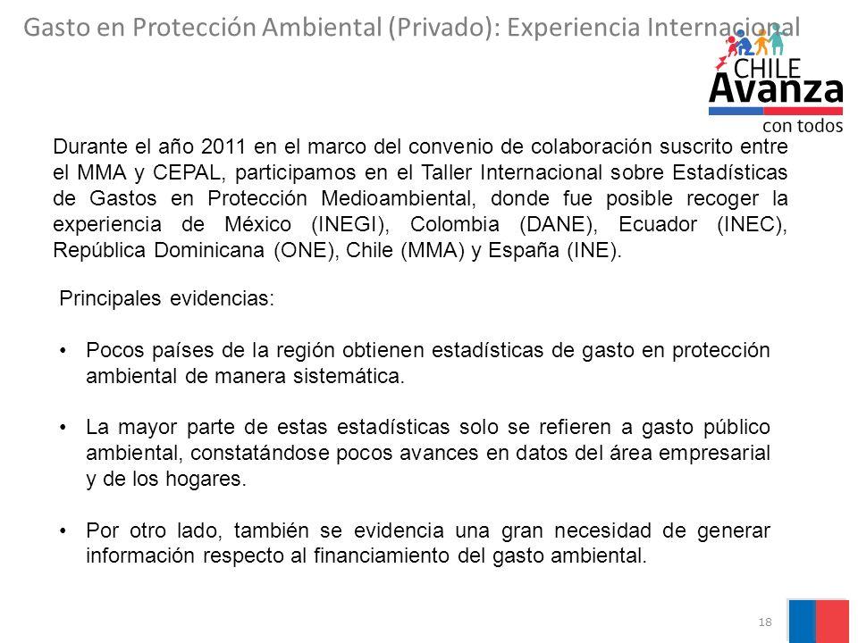 18 Durante el año 2011 en el marco del convenio de colaboración suscrito entre el MMA y CEPAL, participamos en el Taller Internacional sobre Estadísticas de Gastos en Protección Medioambiental, donde fue posible recoger la experiencia de México (INEGI), Colombia (DANE), Ecuador (INEC), República Dominicana (ONE), Chile (MMA) y España (INE).