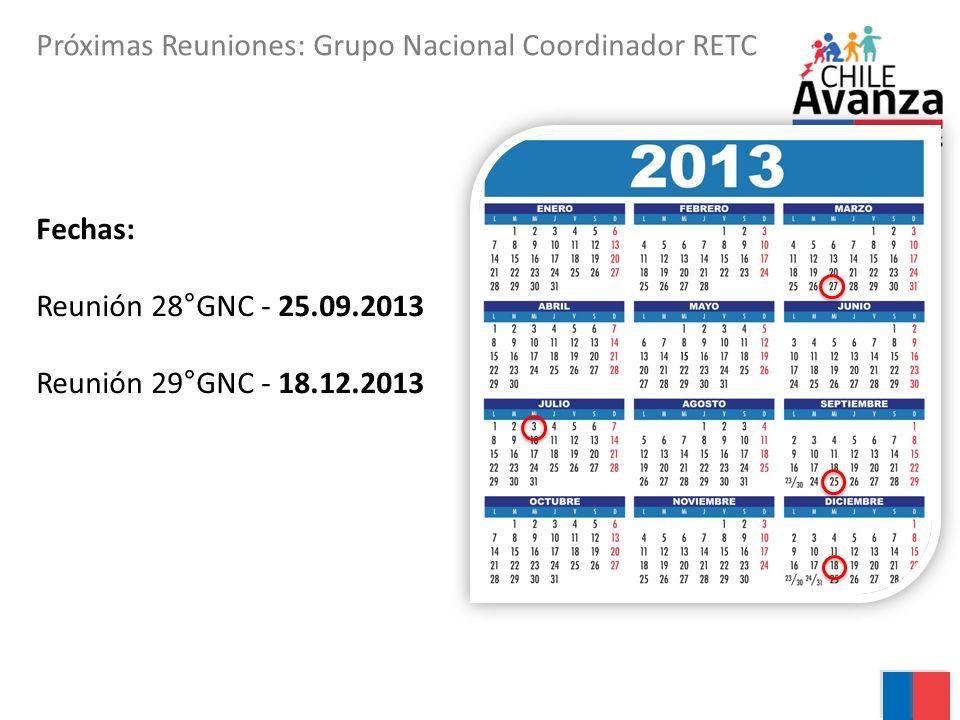 Próximas Reuniones: Grupo Nacional Coordinador RETC Fechas: Reunión 28°GNC - 25.09.2013 Reunión 29°GNC - 18.12.2013