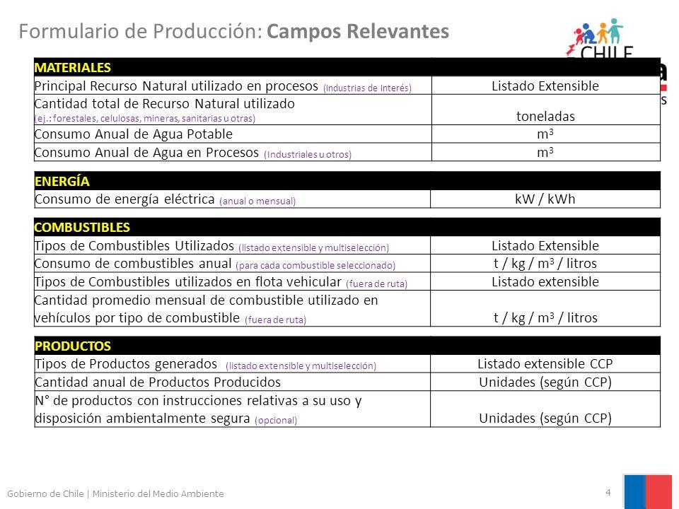 Gobierno de Chile | Ministerio del Medio Ambiente 4 Formulario de Producción: Campos Relevantes MATERIALES Principal Recurso Natural utilizado en procesos (industrias de interés) Listado Extensible Cantidad total de Recurso Natural utilizado (ej.: forestales, celulosas, mineras, sanitarias u otras) toneladas Consumo Anual de Agua Potablem3m3 Consumo Anual de Agua en Procesos (Industriales u otros) m3m3 ENERGÍA Consumo de energía eléctrica (anual o mensual) kW / kWh COMBUSTIBLES Tipos de Combustibles Utilizados (listado extensible y multiselección) Listado Extensible Consumo de combustibles anual (para cada combustible seleccionado) t / kg / m 3 / litros Tipos de Combustibles utilizados en flota vehicular (fuera de ruta) Listado extensible Cantidad promedio mensual de combustible utilizado en vehículos por tipo de combustible (fuera de ruta) t / kg / m 3 / litros PRODUCTOS Tipos de Productos generados (listado extensible y multiselección) Listado extensible CCP Cantidad anual de Productos ProducidosUnidades (según CCP) N° de productos con instrucciones relativas a su uso y disposición ambientalmente segura (opcional) Unidades (según CCP)